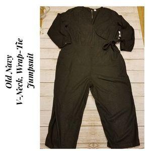Old Navy V-Neck Front-Wrap Jumpsuit